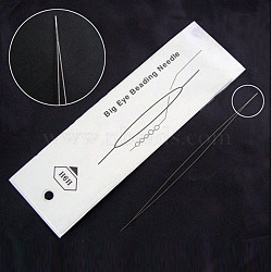 Stainless Steel Collapsible Big Eye Beading Needles, Seed Bead Needle, Beading Embroidery Needles for Jewelry Making, Stainless Steel Color, 57x0.3mm
