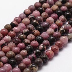 Chapelets de perles en rhodonite naturelle, rond, 6mm, trou: 1mm; environ 61 pcs/chapelet, 14.9''~15.1''(G-D840-59-6mm)