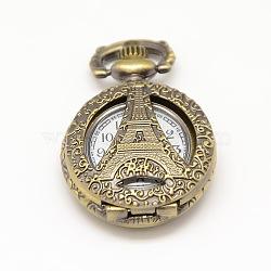 vintage creux creux ronds sculptés en alliage tour montre têtes de montre à quartz pour la fabrication de collier de montre de poche, bronze antique, 36x27x11.5 mm(WACH-M109-05)