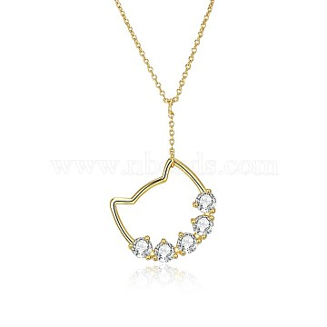 925 Sterling Silver Kitten Pendant Necklaces, with Austrian Crystal, Cat, Golden, 001_Crystal, 16.14 inches(41cm)(SWARJ-BB34038)