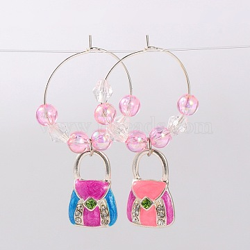 Alloy Enamel Handbag Wine Glass Charms, with Rhinestone, Transparent Acrylic Beads and Brass Hoop Earrings, Platinum, Pink, 47mm, Pin: 0.7mm(AJEW-JO00026-04)