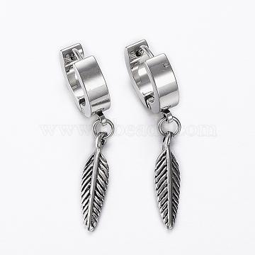 304 Stainless Steel Huggie Hoop Earrings, Hypoallergenic Earrings, Leaf Charms, Antique Silver, 35mm; Pin: 0.8mm(X-EJEW-H351-12AS)