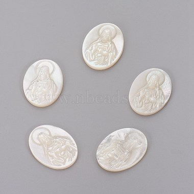 20mm Oval White Shell Cabochons