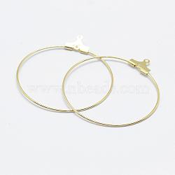 латунные подвески, обруч серьги выводы, долговечный, реальный 18 k позолоченный, никель свободный, открытый круг / кольцо, 39.5x36x0.8 mm, отверстия: 1 mm(X-KK-F727-22G-NF)