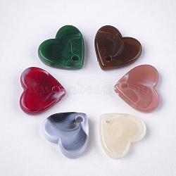 Breloques en acrylique, style de pierres fines imitation, cœur, couleur mixte, 12.5x13.5x3.5mm, Trou: 1.8mm(X-OACR-T011-31)