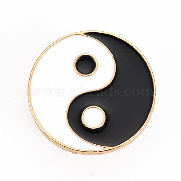 Alloy Enamel Brooches, Enamel Pins, with Brass Butterfly Clutches, Gossip/Yin Yang, Cadmium Free & Nickel Free & Lead Free, Light Gold, Black & White, 1 inch(24mm), Pin: 1mm(JEWB-S011-078-NR)