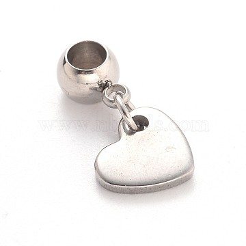 Heart 304 Stainless Steel European Large Hole Dangle Beads, Stainless Steel Color, 20mm, Hole: 4mm(X-PALLOY-JF00100-02)