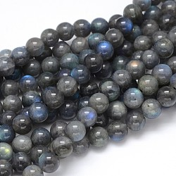 Natural Labradorite Round Bead Strands, Grade AA, 8mm, Hole: 1mm; about 50pcs/strand, 16inches
