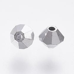 Perles de verre tchèques, facette, Toupie, argenterie, 4mm, trou: 0.8mm; environ 144pcs / brut(302_4mm569)