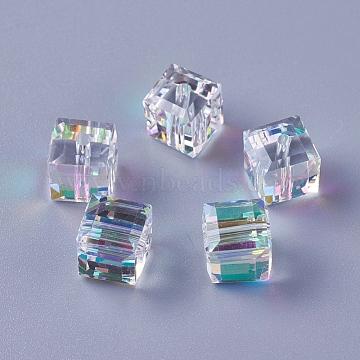 Imitation Austrian Crystal Beads, K9 Glass, Cube, Faceted, Clear AB, 8x8x8mm, Hole: 1.6mm(X-SWAR-O001-04A)