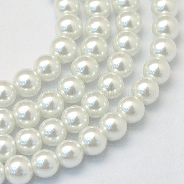 Baking Painted Glass Pearl Bead Strands, Pearlized, Round, White, 3~4mm, Hole: 0.5mm; about 195pcs/strand, 23.6 inches(X-HY-Q003-3mm-01)