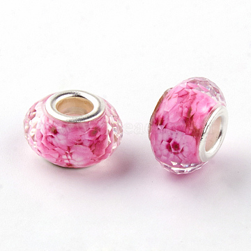 Resin European Beads, Large Hole Beads, with Silver Color Plated Brass Cores, Faceted, Rondelle, Hot Pink, 14x9mm, Hole: 5mm(X-RPDL-S010-14)