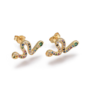 Brass Micro Pave Cubic Zirconia Stud Crawler Earrings, Climber Earrings, with Brass Ear Nuts, Snake, Colorful, Golden, 17~17.5x8mm, Pin: 0.7mm(X-EJEW-F201-11G)
