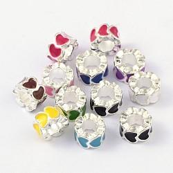 Émail argent en alliage perles européennes, Perles avec un grand trou   , colonne avec le coeur, couleur mixte, 10x6mm, Trou: 5mm(X-MPDL-R011-M)