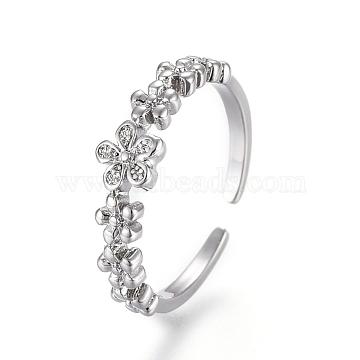 Adjustable Brass Toe Rings, Open Cuff Rings, Open Rings, Flower, Platinum, US Size 3(14mm)(RJEW-EE0002-21P)