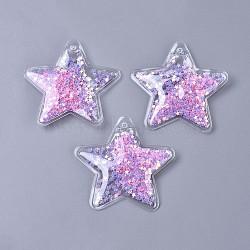 пвх пластиковые большие подвески, с пайеткой / блестками внутри, звезда, pearlpink, 58.5x61x5 mm, отверстия: 3 mm(KY-K008-B01)