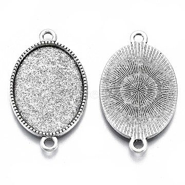 Tibetan Style Oval Alloy Cabochon Connector Settings, Cadmium Free & Lead Free, Antique Silver, Tray: 18x13mm; 27x16x2mm, Hole: 2mm(X-TIBE-Q038-002A-AS-RS)
