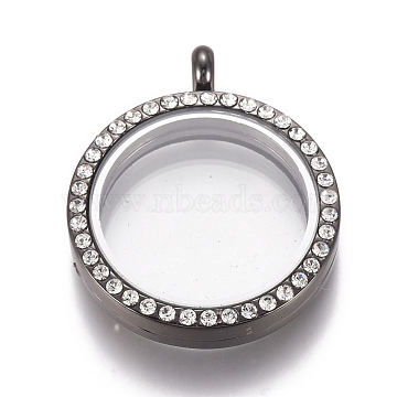 Flat Round Alloy Rhinestone Magnetic Locket Pendants, Photo Frame Living Memory Floating Charms, with Glass Cover, Gunmetal, 37x30x6.5mm, Inner Diameter: 22.5mm(PALLOY-WH0069-01-B)