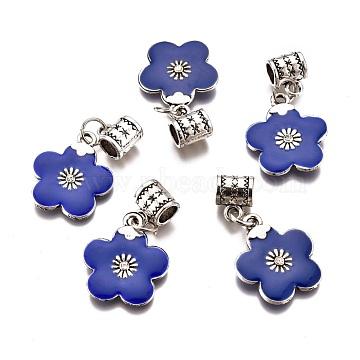 Alloy Enamel European Dangle Beads, with Rhinestone, Large Hole Pendants, Lead Free & Cadmium Free, Flower, Blue, 34mm, flower: 21x18x3mm, Hole: 4.5mm(ENAM-F139-01B-AS-RS)