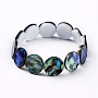 Natural Abalone Shell/Paua Shell Stretch Bracelets, Beaded Bracelets, Flat Round, 2 inches(5.2cm)
