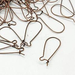 les résultats de bijoux, boucles d'oreilles en fer, sans nickel, cuivre rouge, 25x12 mm(X-J07HC041)