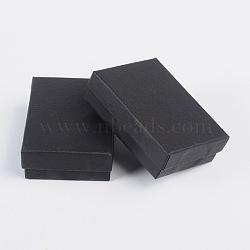 Boîtes de kit de bijoux en carton, pour les colliers, boucles d'oreilles et bagues, rectangle, noir, 9x6.5x2.8 cm(CBOX-S008-04)