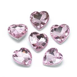 8mm PearlPink Heart Glass Rhinestone Cabochons(RGLA-T028-8mm-03)