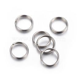 304 Stainless Steel Split Rings, Stainless Steel Color, 6x1mm, Inner Diameter: 5mm, Single Wire: 0.5mm(X-STAS-P223-22P-02)
