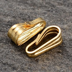 Real 18K Gold Plated Sterling Silver Snap on Pendant Bails, 7.5x3.5x3.3mm, Hole: 2x6mm(STER-K015-H461-G)