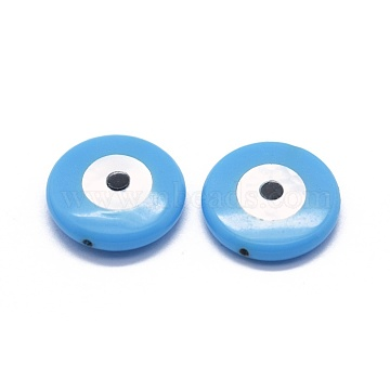 8mm DeepSkyBlue Flat Round Synthetic Turquoise Beads