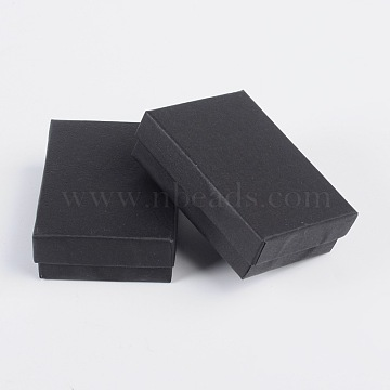 Black Rectangle Cardboard Jewelry Box