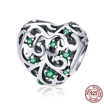 925 Sterling Silver European Beads, with Cubic Zirconia, Large Hole Beads, Heart, Antique Silver, 11x12mm, Hole: 4.2~4.5mm(STER-FF0009-08AS-10)