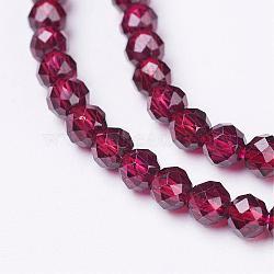 """Chapelets de perles de grenat naturel, facette, rond, 3mm, trou: 0.5mm; environ 106 pcs/chapelet, 12.6"""" (32 cm)(G-D167-A-3mm)"""
