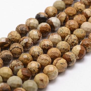 image Naturel jaspe perles brins, facettes, arrondir, 8 mm, trou: 1 mm; environ 44 perle / brin, 14.9(X-G-D840-47-8mm)