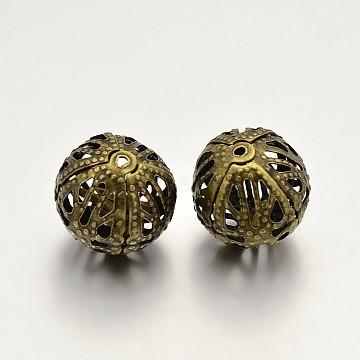 Round Iron Filigree Beads, Filigree Ball, Antique Bronze, 20mm, Hole: 1mm(X-IFIN-N3285-05AB-20mm)