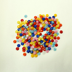 Полупрозрачный цветочным узором смешивать цветные кнопки, смола для пришивания пуговиц, диаметром около 14 мм , отверстие : 1 мм(X-NNA0VFG)
