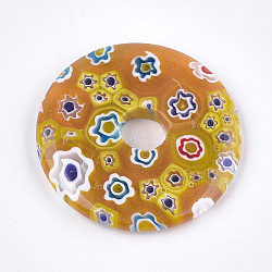 Pendentifs de millefiori vernissés, disque de donut / pi, verge d'or, 44.5~45x6mm, Trou: 8~10mm(LAMP-S191-13D)