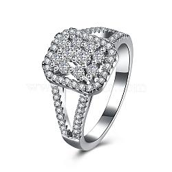 Rectangle mode 925 en argent sterling anneaux zircone cubique doigt, taille 7, platine, 17.3mm(RJEW-BB16653-7)