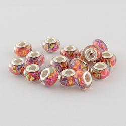 Perles Européennes en acrylique avec grand trou, laiton avec ton argent noyaux doubles, rondelle, oldrose, 14x9mm, Trou: 5mm(X-OPDL-R114-11B)