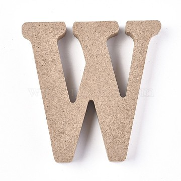Letter Unfinished Wood Slices, Laser Cut Wood Shapes, for DIY Painting Ornament Christmas Home Decor Pendants, Letter.W, 100x99x15mm(DIY-WH0162-62W)