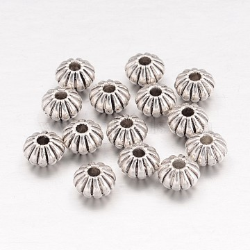 Tibetan Style Spacer Beads, Lead Free & Cadmium Free, Lantern, Antique Silver Color, Size: about 8mm in diameter, 5mm thick, hole: 2mm(X-TIBEB-R010-AS-LF)