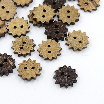 24L(15mm) CoconutBrown Flower Coconut 2-Hole Button