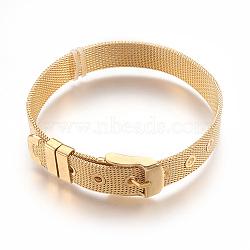 """304 bracelets de montres en inox, montre de la ceinture s'adapte breloques de glissière, plaqué or, 8-1/2"""" (21.5cm); 10mm(WACH-P015-02G)"""
