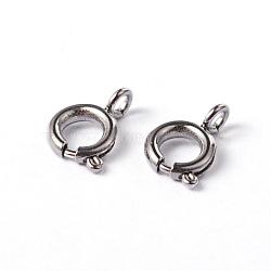 304 из нержавеющей стали пружинное кольцо ожерелье концевые застежки, отлично подходит для изготовления ювелирных изделий, цвет нержавеющей стали, 7.5x5x1.2 мм, отверстие : 1.5 мм(STAS-G170-01P)