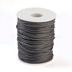 PVC Tubular Solid Synthetic Rubber Cord, No Hole, Wrapped Around White Plastic Spool, Black, 2mm; about 50m/roll(RCOR-R008-2mm-50m-09)