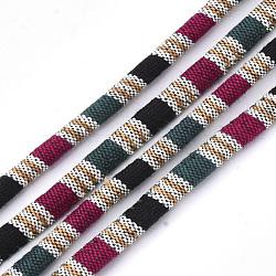 Cordes en tissu de style ethnique, avec cordon en coton à l'intérieur, colorées, 6.5~7x5 mm; environ 100 m / bundle(OCOR-S034-22)