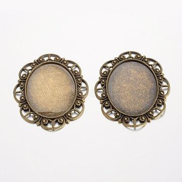Oval Tibetan Style Alloy Cabochon Settings, Lead Free & Nickel Free & Cadmium Free, Antique Bronze, Tray: 40x30mm; 56x46x2mm, Hole: 5x4mm(X-PALLOY-K109-78AB-NR)