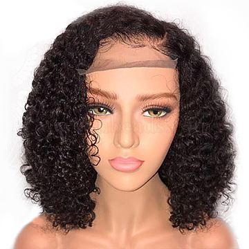 Short Curly Bob Wigs, Lace Front Wig for Black Women, Synthetic Wigs, Heat Resistant High Temperature Fiber, Black, 14 inches(OHAR-L010-042)