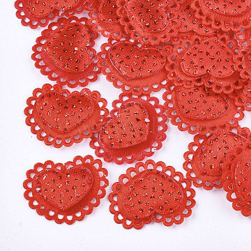 Polyester Costume Accessories, with Glitter Powder, Heart, Red, 24x28x2mm(X-FIND-T038-30G)