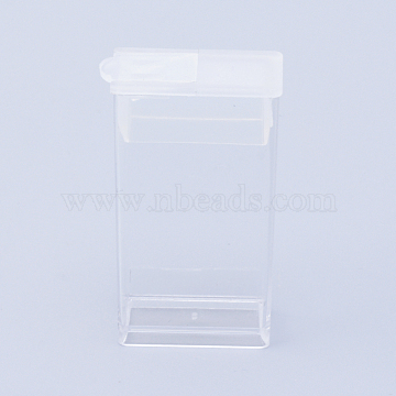 Plastic Bead Containers, Flip Top Bead Storage, For Seed Beads Storage Box, Rectangle, Clear, 5x2.7x1.2cm, Hole: 0.9x1cm; Capacity: 3ml(0.1 fl. oz)(X-CON-R010-03)